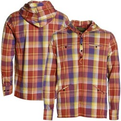 Greg Yellow-Brown Plaid Hooded Long Sleeve Henley Shirt