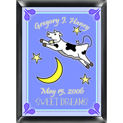 Personalized Cow Jumping Over the Moon Sign Blue