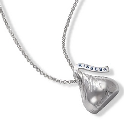 3-D Hersheys Kiss Necklace in Sterling Silver