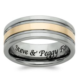 Mens Tungsten Two-Tone Engraved Message Band