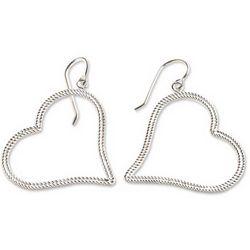 """""""Two As One"""" Sterling Silver Heart Earrings"""