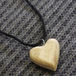 Peace and Love Olivewood Heart Pendant