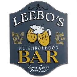 Personalized Neighborhood Bar Wooden Sign