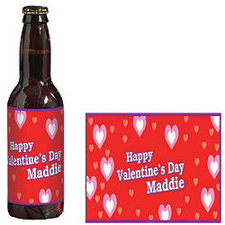 Hearts within Hearts Personalized Glass Bottle Label