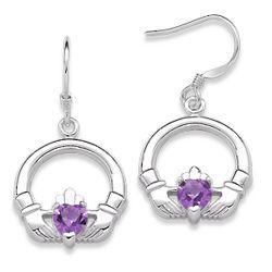 Sterling Silver February Birthstone Claddagh Earrings