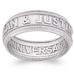 Sculpted Platinum Plated Sterling Wide Beaded Engraved Band