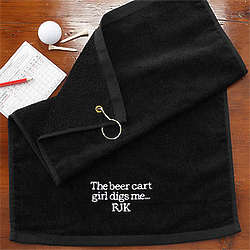 Embroidered Black Personalized Golf Towel