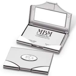 Monogrammed Business Card Case with Inside Mirror