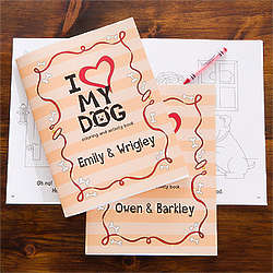 Personalized I Love My Dog Kid's Coloring Book