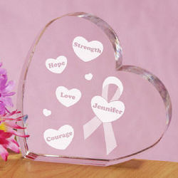 Strength, Hope, Love, Courage Awareness Heart Plaque