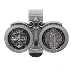 Black Enamel and Pewter St. Benedict Car Visor Clip