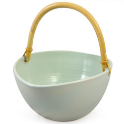 Ceramic Bread Basket with Bamboo Handle