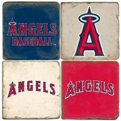 Anaheim Angels Italian Marble Coasters with Wrought Iron Holder