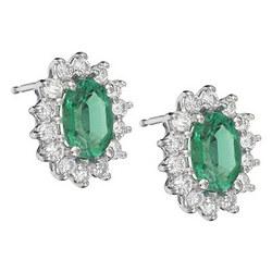 Emerald Earrings in 18K White Gold