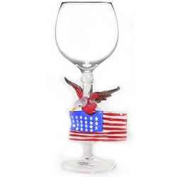 Eagle with American Flag Wine Glass