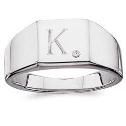 Men's Sterling Silver CZ Signet Ring