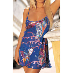 Colorful Butterflies Burnout Silk Chemise with Thong