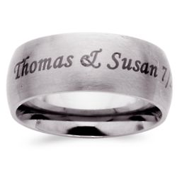 Stainless Steel Top-Engraved Extra Wide Wedding Band