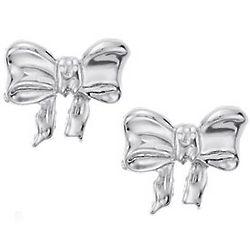 Children's Bow Earrings in Sterling Silver