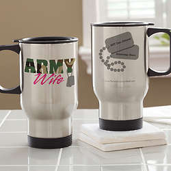 Personalized Army and Navy Supporter Travel Mug
