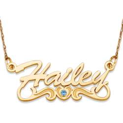 10K Gold Script Name Necklace with Birthstone Heart Tail
