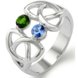 Close to the Heart 2 Birthstone Celtic Trinity Ring
