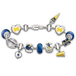 Michigan Wolverines Charm Bracelet with Swarovski Crystals
