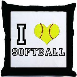 I Heart Softball Throw Pillow