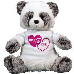 Personalized Couple's Hearts Panda Bear