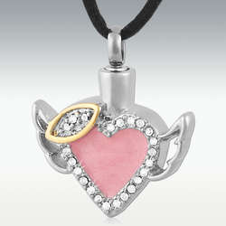 Engravable Pink Angel Heart Stainless Steel Cremation Necklace