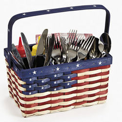 Patriotic Woven Wood Utensil Caddy