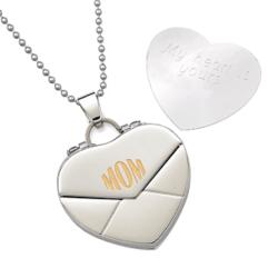 Stainless Steel Mom Heart Envelope Engraved Message Pendant