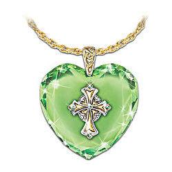 Emerald Isle Blessings Irish Celtic Cross Pendant Necklace