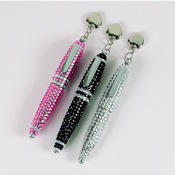 Crystal Pen with Engravable Heart Charm