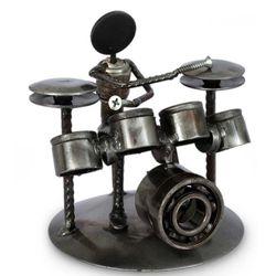 """Rustic Drummer"" Iron Statuette"