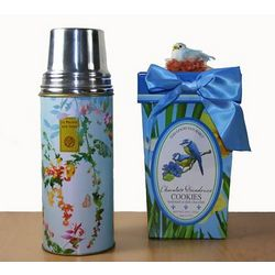 Blue Thermos with Cookies Gift Set