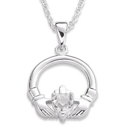 Sterling Silver April Birthstone Claddagh Pendant