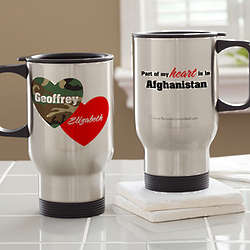 Personalized Hearts and Camo Military Travel Mug