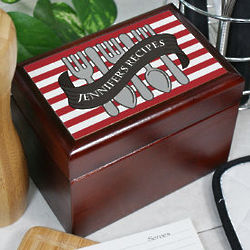 Personalized Stripes and Banner Recipe Card Box