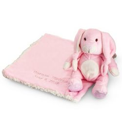 Embroidered Pink Stuffed Bunny and Blanket