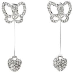 Crystal Rhodium Butterfly Heart Drop Earrings