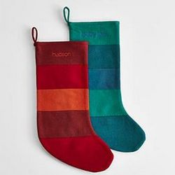 Wool Felt Striped Holiday Stocking