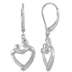 Mother and Child Heart Shaped Diamond Earrings