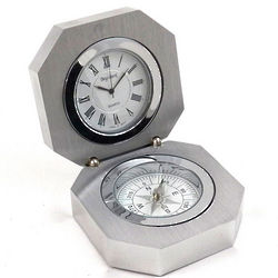 Stainless Steel Compass and Clock