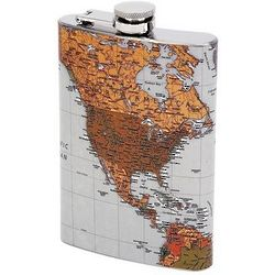 Personalized Antique Map of the World Flask