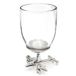 2 Wine Glasses with Airplane Base