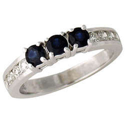 Three Stone Sapphire and Diamond Channel Set Ring 14k White Gold