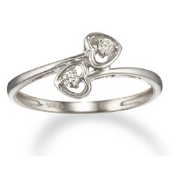 Sweet Double Diamond Heart Promise Ring in 14k Gold