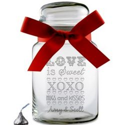 Love is Sweet Personalized Glass Candy Jar