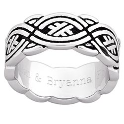Men's Antiqued Celtic Weave Engraved Band